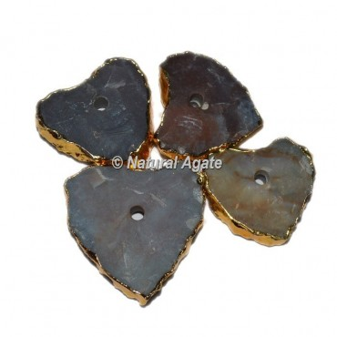 Plated Agate Heart Shape Natural Knob