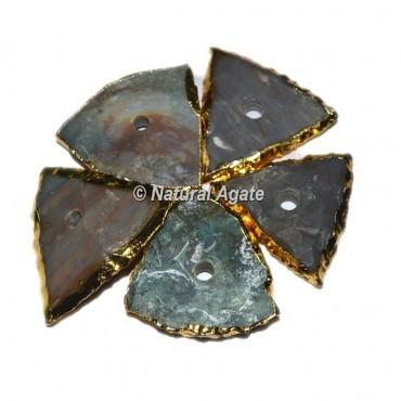 Plated Agate Triangle Shape Natural Knob
