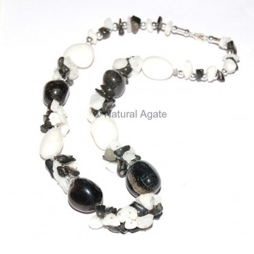 White and Black Agate Necklace