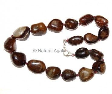 Brown Onyx Tumbled Necklace