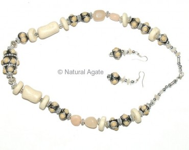 Cream Moon Stone Necklace
