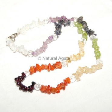 Chakra Chips Necklace with Crystal Round