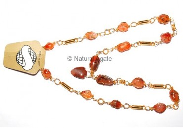 Golden Cage Akik Stone Necklace