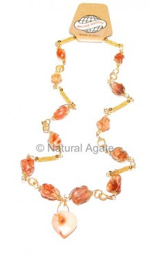 Akik Stone Necklace in Cage