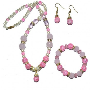 Pink Glass Beads Fashion Necklace