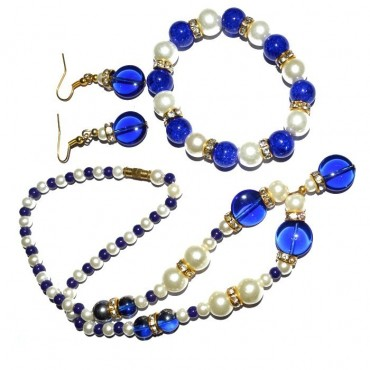 Blue Glass Fashion Neckalce