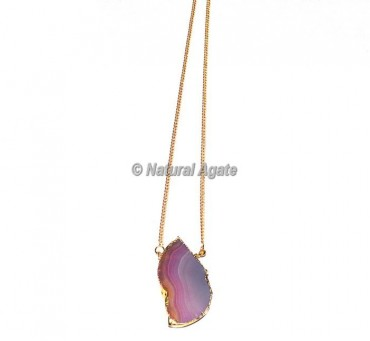 Pink Onyx Slices Necklace