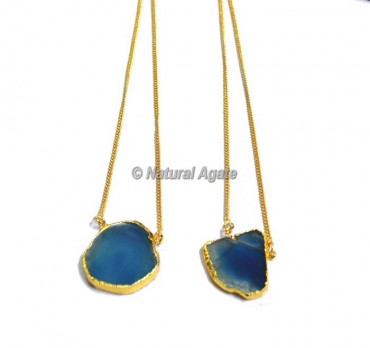 Blue Onyx  Slices Necklace