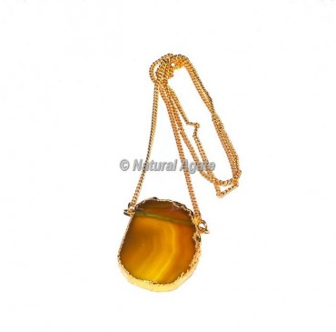Yellow Onyx Slices Necklace