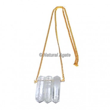 Crystal Quartz Pencil Pendants With Golden Chain