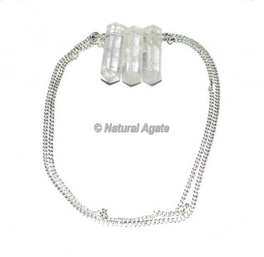Crystal Quartz Pencil Pendants With Silver Chain