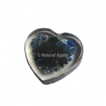 Bird Design On Lapis Lazuli Orgone Heart