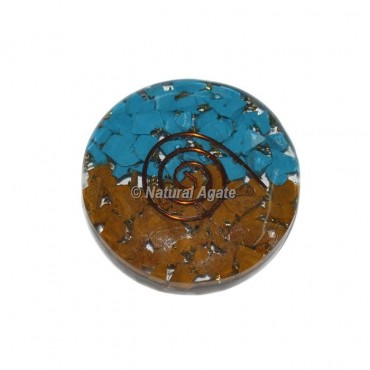 Yellow Jasper & Turquoise Stones Orgonite Disc Cab