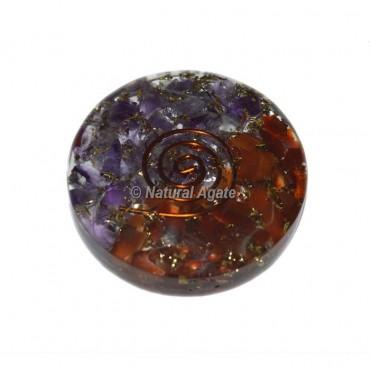 Amethyst & Carnelian Orgone Disc Cab