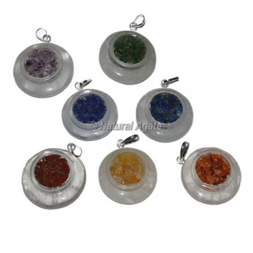 Crystal Quartz With Orgonite Chakra Pendants Set