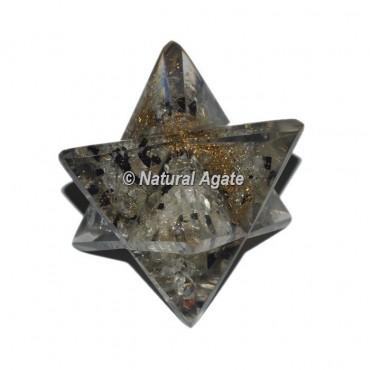Orgone Crystal - Black Chips Big Merkaba Star