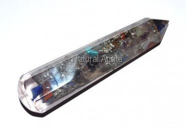 Orgone Multi Gemstone Faceted Massage Wands