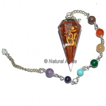 Orgone Red Jasper Chakra Pendulum with Om