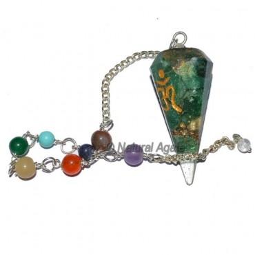 Orgone Green Aventurine Seven Chakra Pendulum