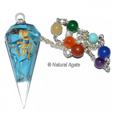 Orgone Turquoise Seven Chakra Pendulum With Om