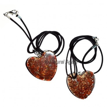 Orgone Jasper Heart Pendants With Leather Code