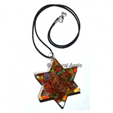 Orgone Seven Chakra Star Pendants with Leather Cod