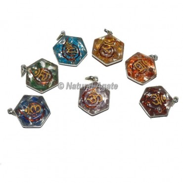 Seven Chakra Engraved David Star Set Pendants