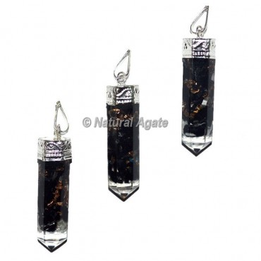 Black Tourmaline Orgone Pencil Pendants
