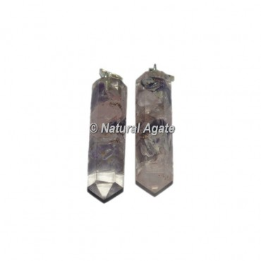 Orgone Rose-Amethyst Pencil Pendants