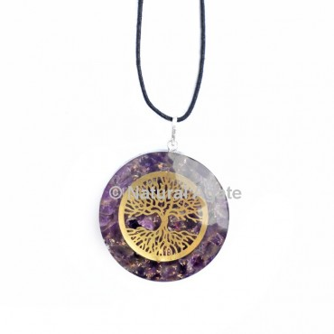 Amethyst Orgone Disc Pendant With Tree Of Life