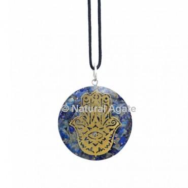 Lapis Lazuli Orgone Disc Pendant With Hamsa Symbol