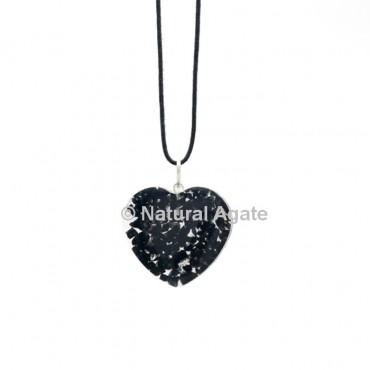 Black Agate Orgone Heart Pendant