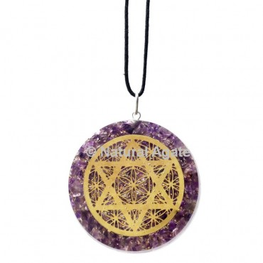 Amethyst With Pentagram Orgone Pendant