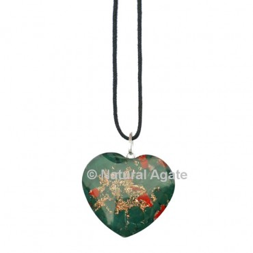Blood Stone Orgone Heart Pendant