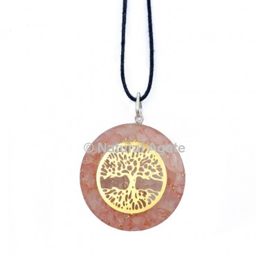 Rose Quartz Orgone Disc Pendant With Tree Of Life