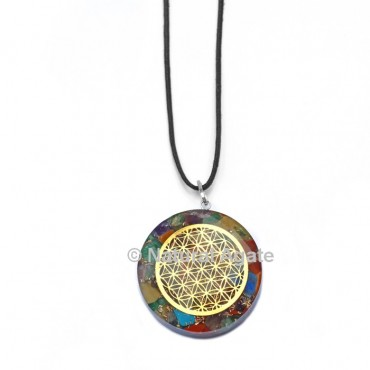 Seven Chakra Orgone Disc Pendant With Flower Of Life