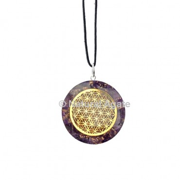 Amethyst Orgone Disc Pendant With Flower Of Life