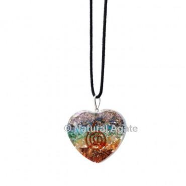 Seven Chakra Orgone Heart Pendant