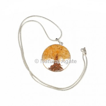 Yellow Aventurine Tree Orgone Disc Pendant with Silver Chain