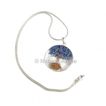 Lapis Lazuli Tree Orgone Disc Pendant with Silver Chain