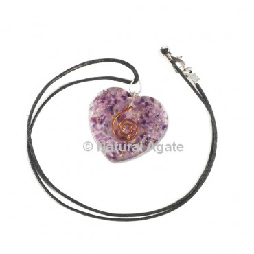 Amethyst Heart Shape Orgone Pendant