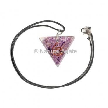 Amethyst Triangle Shape Orgone Pendant