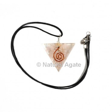 Triangle Shape Rose Quartz Orgone Pendant