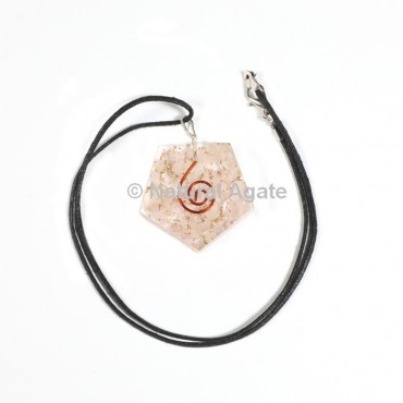 Rose Quartz Pentagon Shape Orgone Pendant