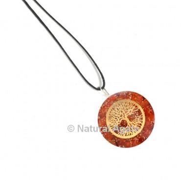 Red carnelian Tree Of Life Orgone Pendant