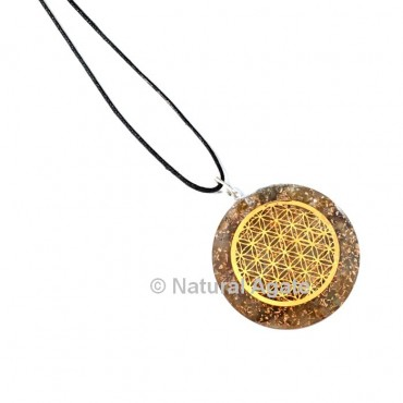 Smokey Quartz Flower Of Life Orgone Pendant