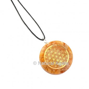Yellow aventurine Flower Of Life Orgone Pendant