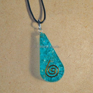 Aquamarine Orgonite Pendants for EMF Protection Drop Shape