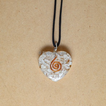 Selenite Heart Orgonite Pendants