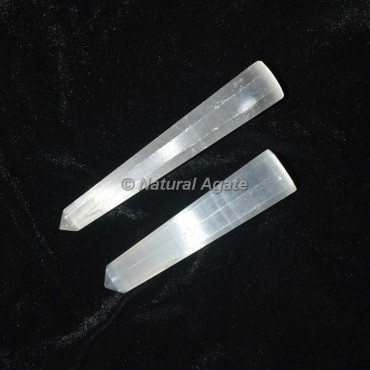 Selenite Faceted Obelisk Points